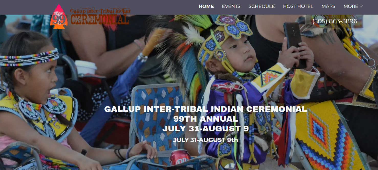 Screen shot of the2020 Gallup Inter-Tribal Ceremonial Page
