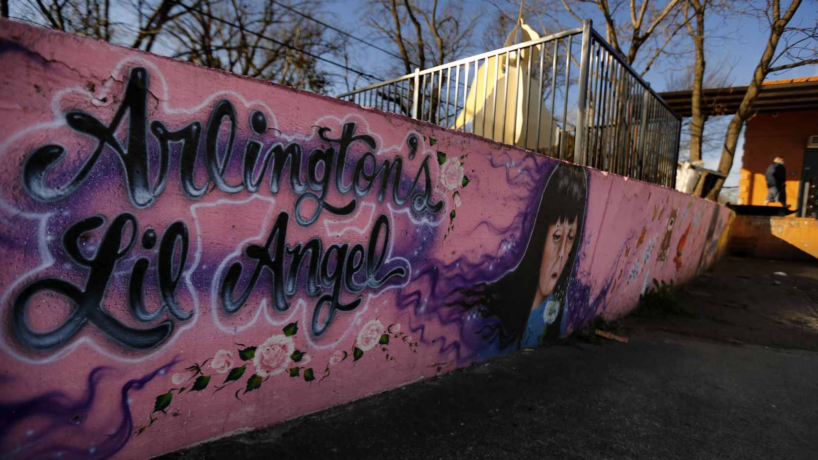 A large painted mural adorns a memorial for Amber Hagerman, the little girl who was abducted on her bike and later found dead in Arlington, Texas in 1996.(Tom Fox / Staff Photographer)