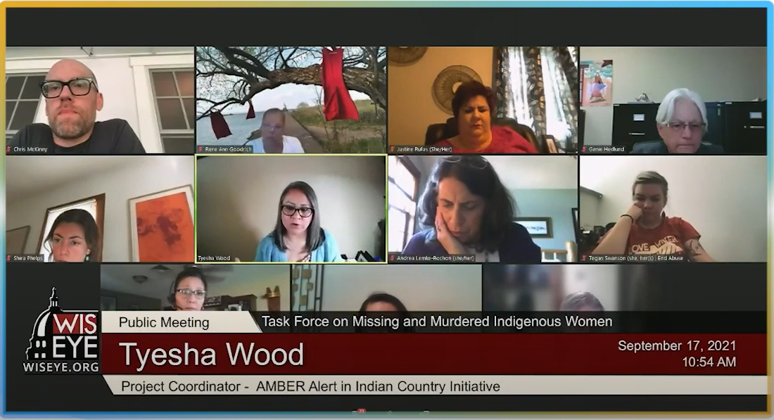 AIIC's Tyesha Wood presents at the MMIP's weekly meeting; image depicts a screen shot of the zoom meeting